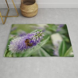 Bee Gathering Pollen on a Flower Rug