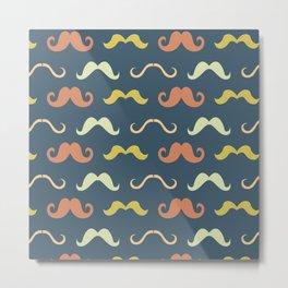 Stache-Blue Metal Print