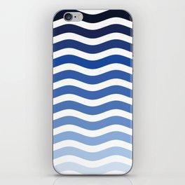 Ocean waves navy blue striped pattern, minimalist summer waves iPhone Skin