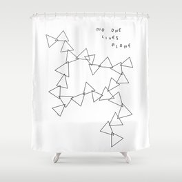 Geometric Shape Triangle Pattern - No One Lives Alone no.4 Shower Curtain