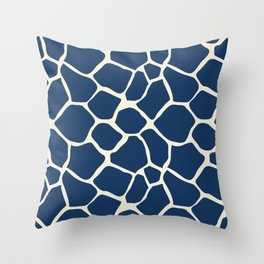 Giraffe Pattern Animal Print (navy) Throw Pillow