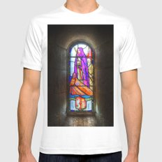 Stained Glass Window White Mens Fitted Tee MEDIUM