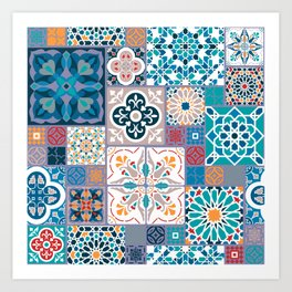 Geometric tiles Art Print