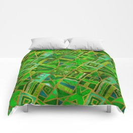 Geometric  Green and Gold African Tribal Pattern Comforters