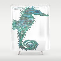 greg guillemin Shower Curtains featuring Seahorse Abstract by Greg Phillips by SquirrelSix