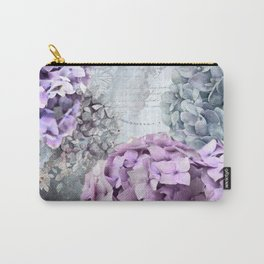 Purple Vintage Flower Hydrangea Hortensia Collage Carry-All Pouch