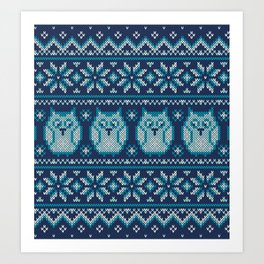 Owls winter knitted pattern Art Print