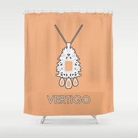 vertigo Shower Curtains featuring Vertigo by MacGuffin Designs