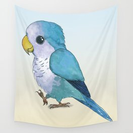 Very cute blue parrot Wall Tapestry