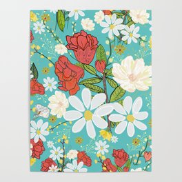 Pomegranate and Daisy Vibrant Colorful Pattern Poster