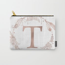 Letter T Rose Gold Pink Initial Monogram Carry-All Pouch