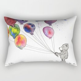 bear holding balloons watercolor and ink painting Rectangular Pillow