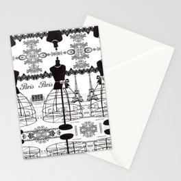 Vintage black white Paris French dress mannequin pattern Stationery Cards