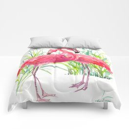 Flamingos, two flamingo birds, pink green art Comforters