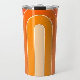 orange retro u stripes Travel Mug
