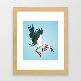 Crane Wearing A Scarf Framed Art Print