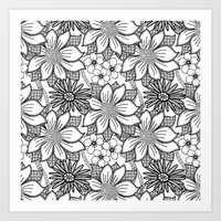 Black and White Floral Drawing Art Print