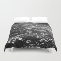 cities Duvet Covers featuring Fly Over Cities by Chris Klemens