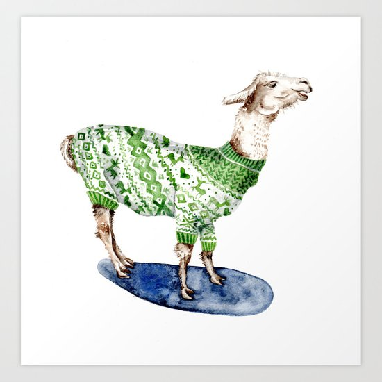 Llama in a Green Deer Sweater Art Print