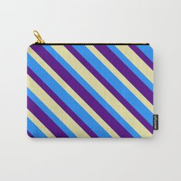 Blue, Indigo, and Pale Goldenrod Colored Striped Pattern Carry-All Pouch