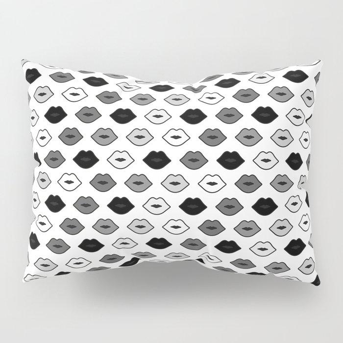 Chessboard Lips - Black and White Pillow Sham