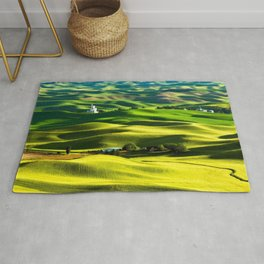 Rolling Hills & Fields of Wheat in Palouse ,Washington by Malcolm Carlaw Rug