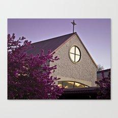 Lavender Sunset on Church Building Canvas Print