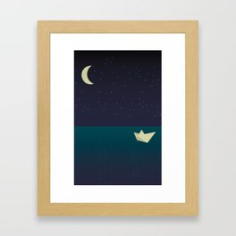 paper boat in the moonlight Framed Art Print