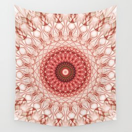 Delicate red web mandala Wall Tapestry