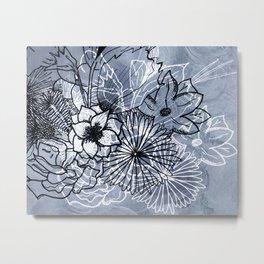 Floral Fusion Sketch Metal Print
