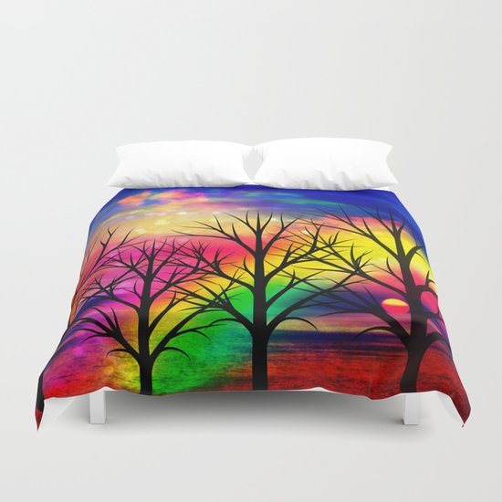 rainbow sunset Duvet Cover