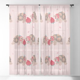 Tortoises love strawberries Sheer Curtain