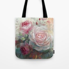 Vintage Oil Painting of Pearl Coor Rose Tote Bag