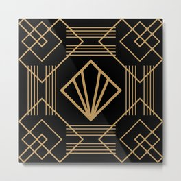 Retro vintage glam 1920s fashion black and gold geometric pattern art deco  Metal Print