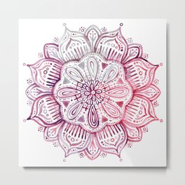Burgundy Blush Watercolor Mandala Metal Print