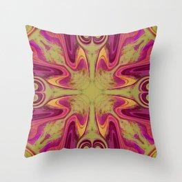 Groovy, Retro Pink and Green Swirls Design Throw Pillow