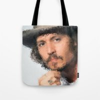 johnny depp Tote Bags featuring Johnny Depp by lauramaahs