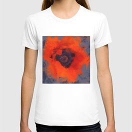 Red Poppy Painting Blue Gray Background T-shirt