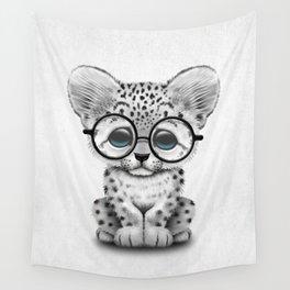 Cute Snow Leopard Cub Wearing Glasses Wall Tapestry