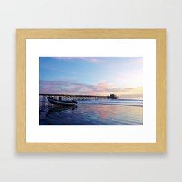 Dory Sunset Newport Beach Pier Framed Art Print