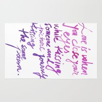 quotes Area & Throw Rugs featuring Love quotes by Ioana Avram