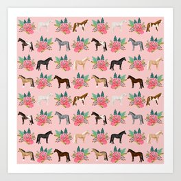 Horse Floral - florals, pink, flower, florals, bloom, horses, cowgirl, bedding, decor, cute Art Print