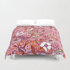 Daisy and Bellflower pattern, pink Duvet Cover