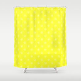 White on Electric Yellow Snowflakes Shower Curtain