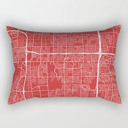 Tempe Map, USA - Red Rectangular Pillow