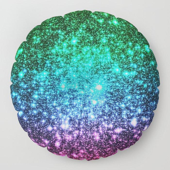 glitter Cool Tone Ombre (green blue purple pink) Floor Pillow