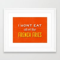 fries Framed Art Prints featuring French Fries by Daily Dishonesty