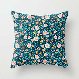 """Cute Floral pattern in the small flower. """"Ditsy print"""". Throw Pillow"""