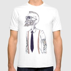 The Gentleman becomes a Hipster  White Mens Fitted Tee MEDIUM