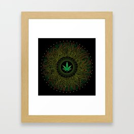 Magic plant. Marijuana leaf. mandala Framed Art Print